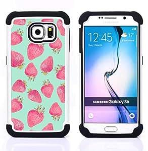 For Samsung Galaxy S6 G9200 - strawberry mint green red watercolor Dual Layer caso de Shell HUELGA Impacto pata de cabra con im????genes gr????ficas Steam - Funny Shop -