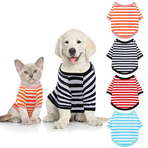4 Pieces Dog Shirts Striped Dog T-Shirts Pet Stretchy Clothes Puppy Short Sleeves Shirts Cat Tank for Small Medium Dogs, 4 Colors