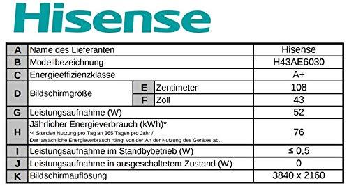 Hisense H43ae6030 4k Uhd Tv 108 Cm 43 Zoll Led Fernseher Ultra Hd