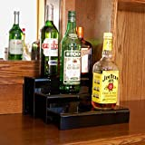 Cheap KegWorks 3 Tier Liquor Bottle Step Shelf – Black Acrylic – 12 Inches Long