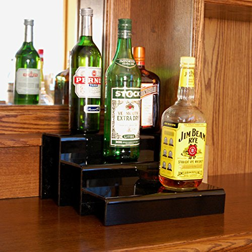 Three Tier Liquor Bottle Shelf - KegWorks 3 Tier Liquor Bottle Step Shelf - Black Acrylic - 12 Inches Long