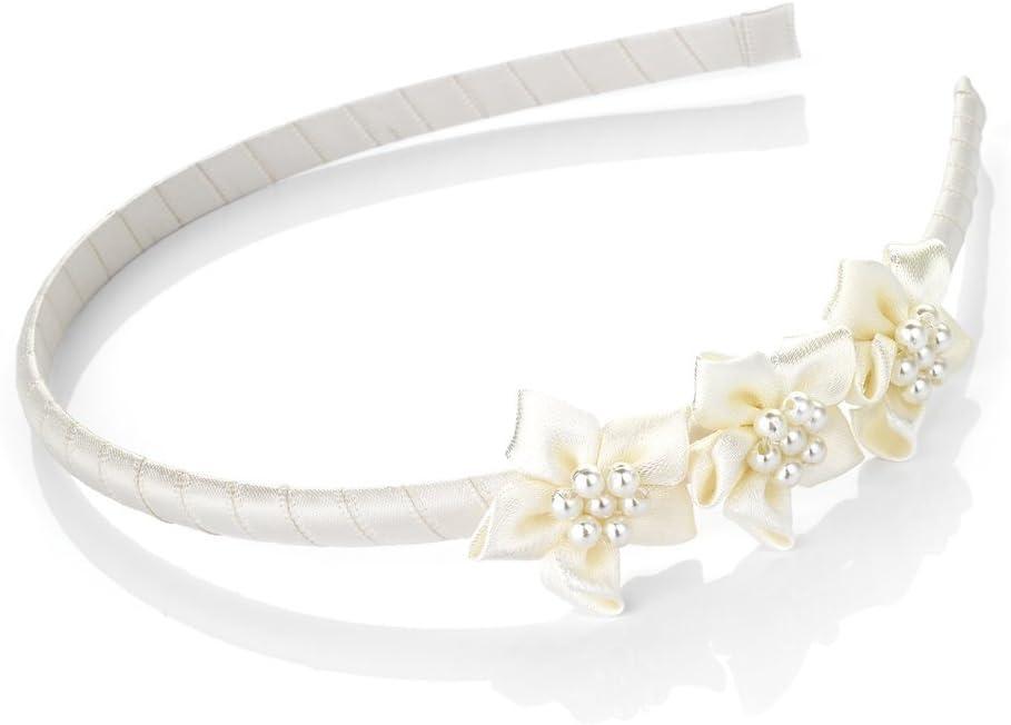 Ivory Satin Alice Band Headband Hairband  Ivory Flowers Bridesmaid Flower Girl