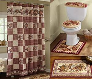 burgundy shower curtain sets. KnlStore Country Primitive Hearts and Stars Bathroom Decor Set Shower  Curtain Floor Mat 3 Piece Commode Rug Bath Collection Burgundy Red Checkered Amazon com