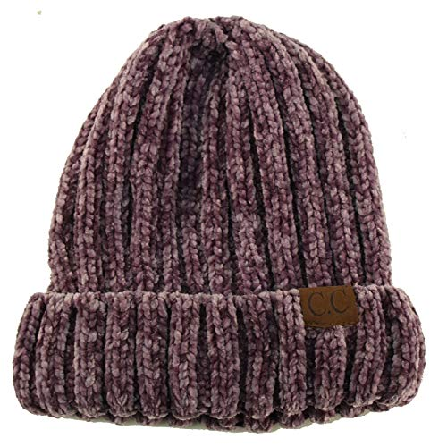 Winter Soft Chenille Chunky Knit Stretchy Warm Ribbed Beanie Hat Cap Violet