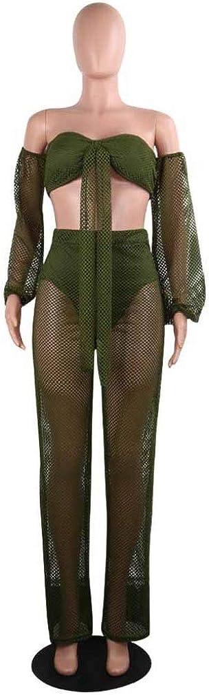 Zimaes-Women Hollow Palazzo Beach Pants Bechwear Puff Sleeve Jumpuits