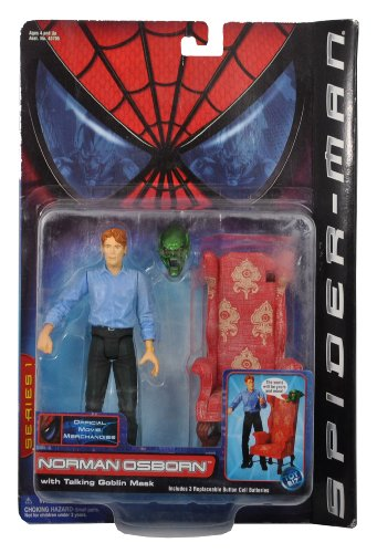 Marvel Year 2001 Series 1 Spider-Man Official Movie Merchandise 6 Inch Tall Action Figure - NORMAN OSBORN with Sofa Chair and Talking Goblin Mask
