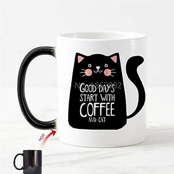 HUYHUY Los Buenos Días Lindos Comienzan Con Café Y Gato Taza ...