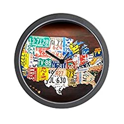 CafePress - United States License Plate Map - Unique Decorative 10 Wall Clock
