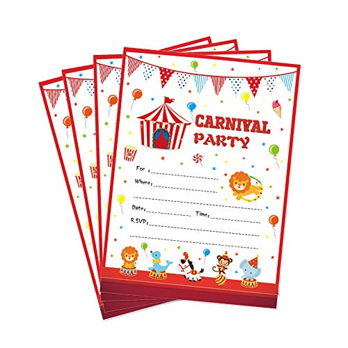 28 Carnival Circus Party Invitations, First Baby Shower Invites, Boy or Girl 1st Birthday or Gender Reveal Theme, Circus Animals Children Toddler Themed Supplies, Printed or Fill in The Blank Cards ()