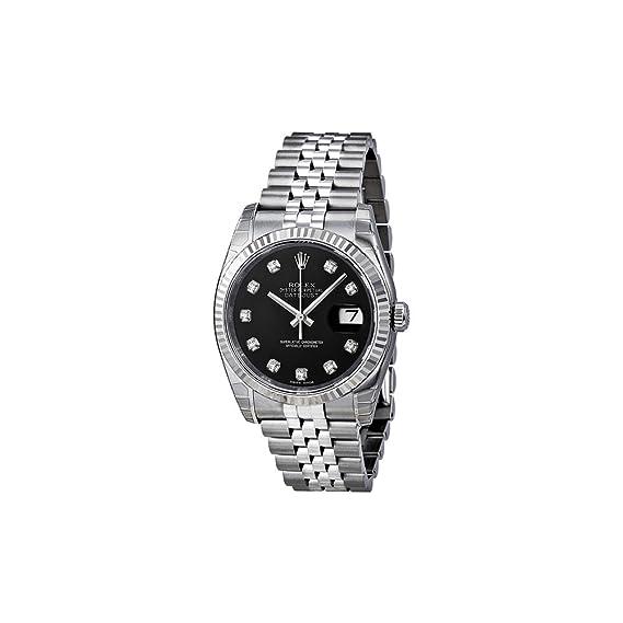 Rolex hombre 36 mm Pulsera & caja acero inoxidable Saphire automático reloj negro reloj m116234 –