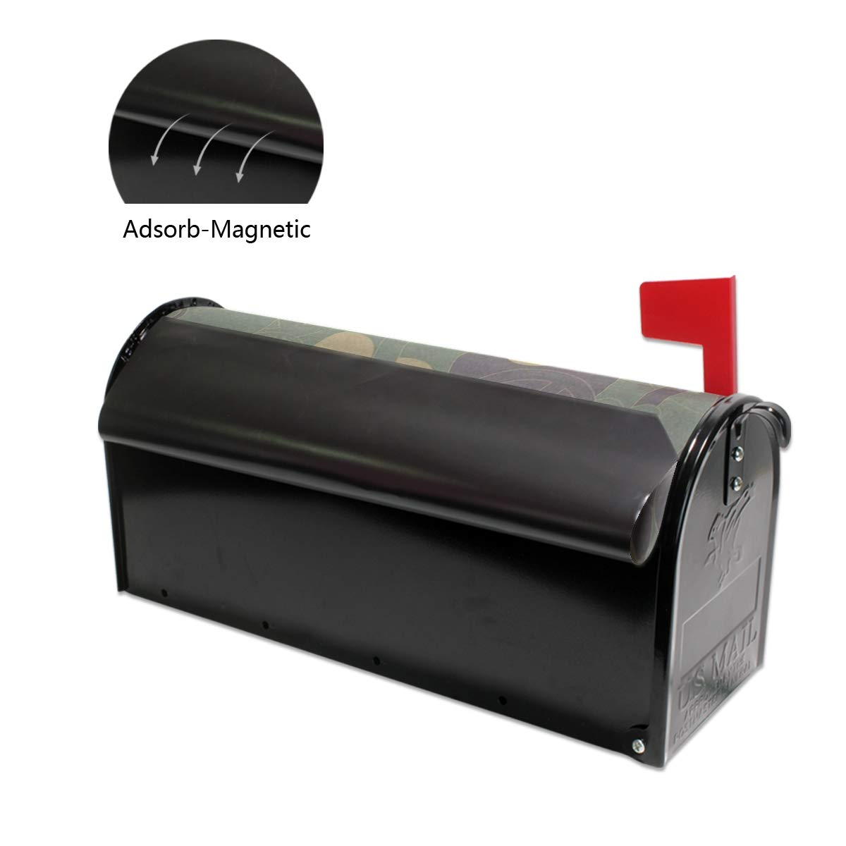 Ladninag Black Gray Camouflage Mailbox Covers Magnetic Mail Letter Post Box Cover Standard Size 20.7x18.03