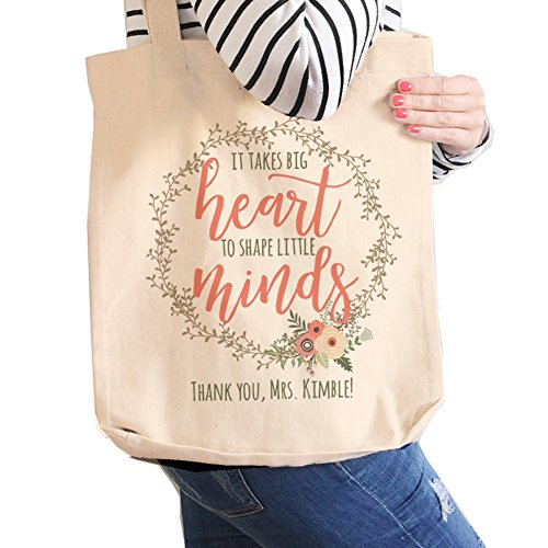 Teacher Tote Bag | it takes big heart to shape little minds teacher gift | Teacher gift tote bag end of year gift