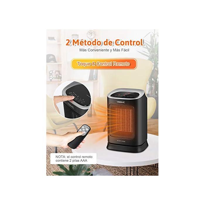 51Toa2v5MaL Calefacción Cerámica PTC: Se calienta rápidamente. El calentador está equipado con un elemento calefactor cerámico PTC para lograr un calentamiento rápido dentro de los 3 segundos posteriores al arranque Oscilación de 70° y Portátil: La oscilación automática asegura una distribución óptima del calor. La función de soplado de gran angular del calentador puede calentar un área grande. El calentador tiene un mango resistente. Esto se puede llevar fácilmente a cualquier lugar de la habitación Función de Temporizador y Termostato: Puede configurar la calefacción eléctrica individualmente entre 0 y 9 horas. Un termostato mantiene constante la temperatura que estableces. Los calentadores de temperatura ajustable pueden ahorrar energía al elegir la configuración más baja que mantendrá su entorno cómodamente cálido