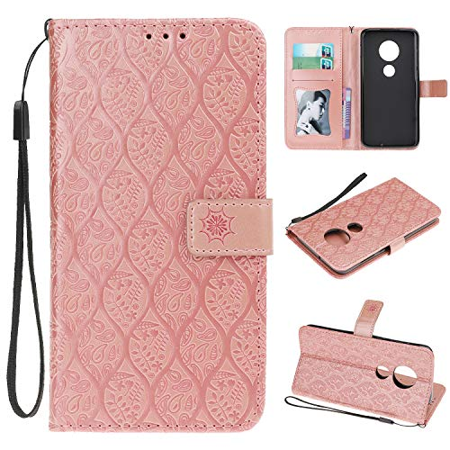 (Cmeka Emboss Rattan Flower Wallet Case for Motorola Moto G7 Plus/Moto G7 3D Relief Flip Leather Protective Case,Magnetic Closure,Card Slots,Kickstand Function (Rose Glod))