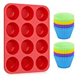 Kootek Silicone Muffin Pan with 24 Pack Reusable Cupcake Liners Baking Cups - BPA Free Muffin Tin and Cupcakes Wrappers, Nonstick Muffins Molds for Bakeware Breads Desserts Kid's Lunch
