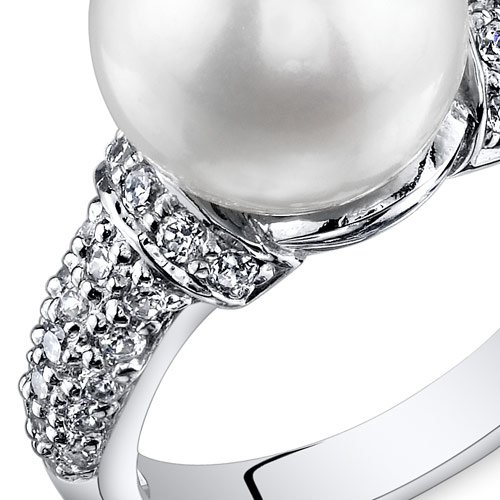 Dazzling Freshwater Cultured White Pearl Ring 8.5-9mm Sterling Silver CZ Accent Sizes 5 to 9