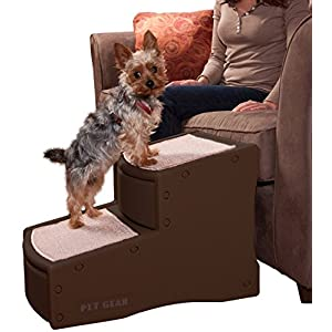 Pet Gear Easy Step II Pet Stairs, 2 Step for Cats/Dogs up to 150 Pounds, Portable, Removable Washable Carpet Tread 3