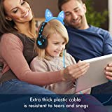 iClever Kids Headphones Over Ear, Cat-Inspired Ears, Wired Headsets 85dB Volume Limited, Food Grade Silicone, LED Flashlight, 3.5 mm Aux Cable, Headphones for Children, LED-Blue