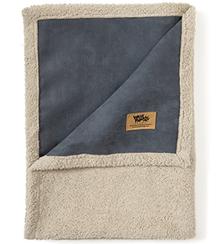 West Paw Big Sky Dog Blanket and Throw, Faux Suede/Silky Soft Fleece Pet Throw Blanket for Couch, Furniture Chair and Bed, Storm Blue, Large ()