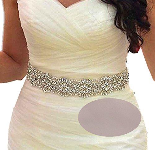 Champagne Belt (SoarDream Bridal Crystal Rhinestone Wedding Dress Sash Belt With Champagne)