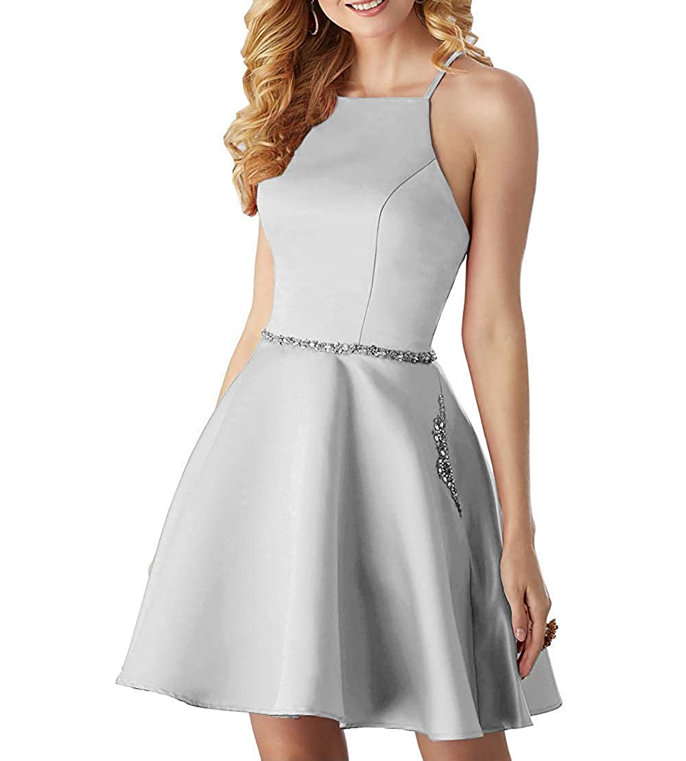 Silver ALine Satin Halter Short Party Dress with Beading Homecoming Dress Prom Gown