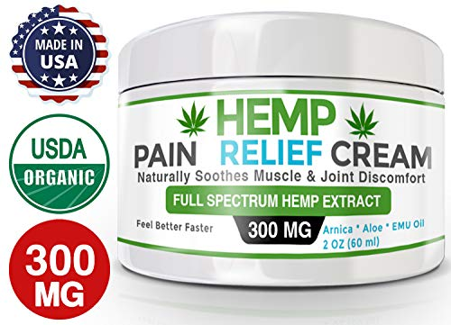 Inflammation Pain Muscle (Organic Hemp Pain Relief Cream – 300 Mg – Made in USA - Natural Hemp Extract Cream for Muscle, Inflammation, Joint, Back, Neck, Knee & Arthritis Pain with Arnica, Aloe, MSM & EMU Oil - GMO-Free)