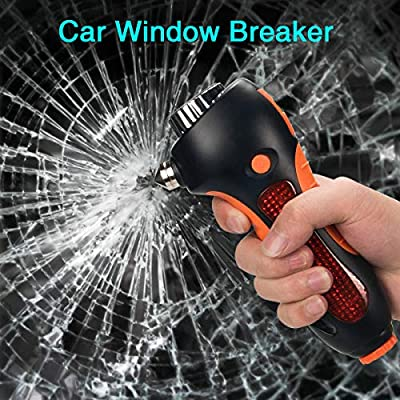 Siivton Car Safety Hammer, 6 in 1 Auto Emergency Escape Tool with Window Breaker, Seatbelt Cutter, LED Flashlight, Whistle & Alarm Lamp Life Saving Rescue Kit for Cars, All Vehicles: Automotive