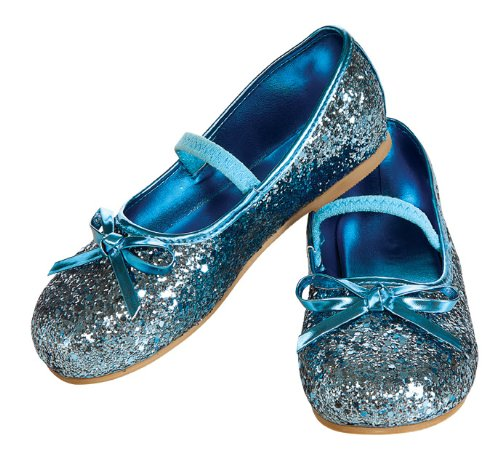 Child's Blue Glitter Costume Flats, Large -