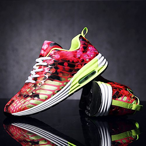 FLARUT Womens Mens Lightweight Walking Trainers Gym Fitness Running Shoes Breathable Sport Sneakers Red-b