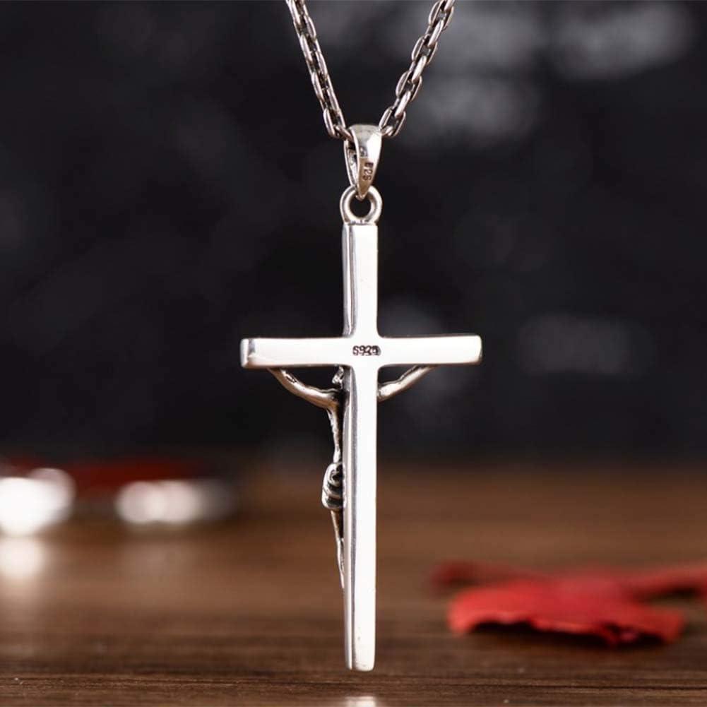 MIYUAN Vintage Sterling Silver Jesus Cross Pendant Wheat Silver Chain for Men