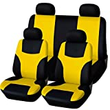 yellow and black car seat covers - ABN Car Seat Cover Set Black & Yellow 8-piece set, Universal Fit Flat Cloth, Fits Most Car, Truck, SUV Seats