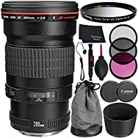 Canon EF 200mm f/2.8L II USM Lens - 6PC Accessory Bundle Includes 3 Piece Filter Kit (UV, CPL, FLD) + Lens Cap Keeper + Dust Blower + MORE