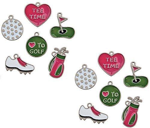 Golf Charms Enamel Set (12 Qty) Bag Ball Shoes Tee Time Green Pink ()