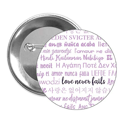 (Love Never Fails Pinback Button 50 pack purple JW International Convention 2019 Gift)