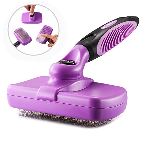 Self Cleaning Slicker Brush Pet Grooming Brush for Dogs and Cats - Gently Removes Shedding Loose Hair Tangled Matted Fur with Ergonomic Handle, Easy Clean (Bristle Slicker Brush)