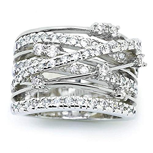 (Haluoo Women Rings, Fashion Diamond Cylindrical Rings Fine Ring Criss Cross Wave CZ Ring Statement Engagement Enhancers Ring Personalized Intertwined Wide Band Ring Punk Rings (6, White))