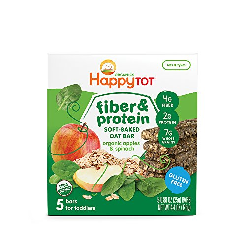 Happy Tot Organic Fiber & Protein Soft-Baked Oat Bars, Organic Toddler Snack, Apple & Spinach, 5 x 0.88 Ounce Bar (Pack of 6)