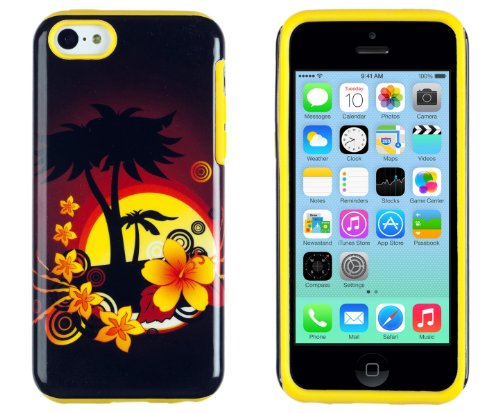 DandyCase 2in1 Hybrid High Impact Hard Hawaiian Palm Tree Sunset Floral Pattern + Yellow Silicone Case Cover For Apple iPhone 5C + DandyCase Screen Cleaner