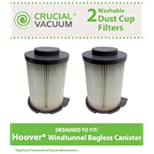 2 Hoover WindTunnel Bagless Canister Filters Washable & Reusable, Compare Part# 59134033, Designed & Engineered by Crucial Vacuum