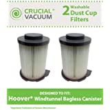 2 Washable & Reusable Filters for Hoover Windtunnel Bagless Vacuums; Compare to Hoover Part No. 59134033; Designed & Engineered by Think Crucial
