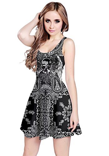 CowCow Womens Black Lace Skull Sleeveless Dress, Black - XL for $<!--$20.99-->
