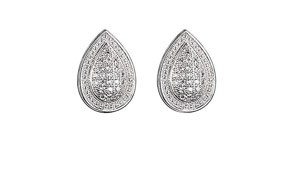 Diamond and Light Blue Topaz Earrings 24mm x 4mm Mia Diamonds 925 Sterling Silver .01cttw