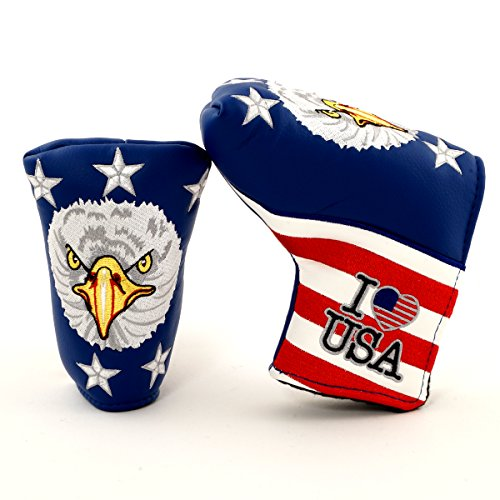 (19th Hole Custom Shop I Love USA Golf Headcover for Midsize Mallet and Blade Putter, Golf Head Cover)