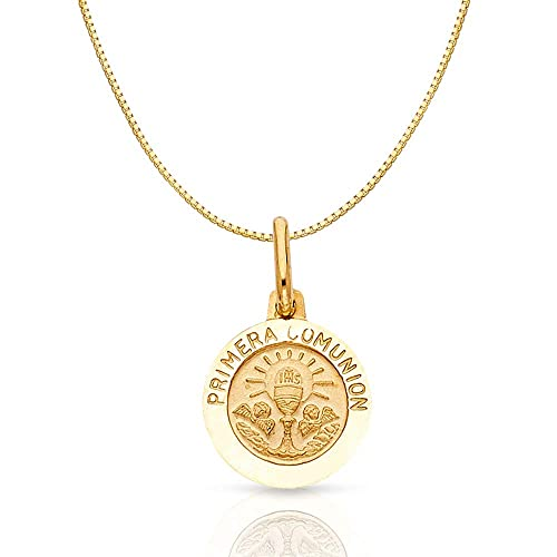 14K Yellow Gold Communion Religious Charm Pendant with 0.8mm Box Chain Necklace