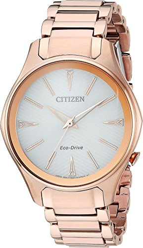Ladies' Citizen Eco-Drive Modena Rose Gold-Tone Silver Dial Watch EM0593-56A