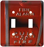 3dRose LLC lsp_33152_2 Red Fire Box - Double Toggle Switch