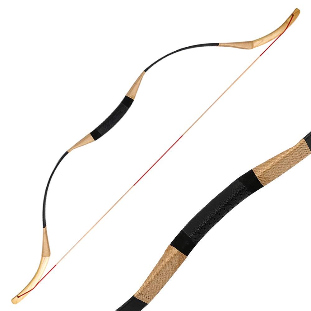 toparchery伝統的なリカーボウセットロングボウモンゴルの馬弓ワンピースハンティングボウの左または右の手30-65lbs純粋な手作り