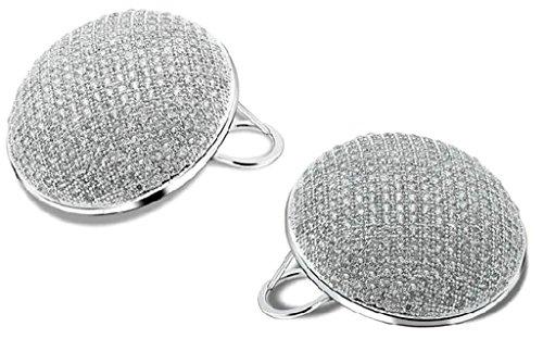 Beydodo Womens Gold Plated Earrings Stud White Round Cubic Ziconia Beydodo Jewelry