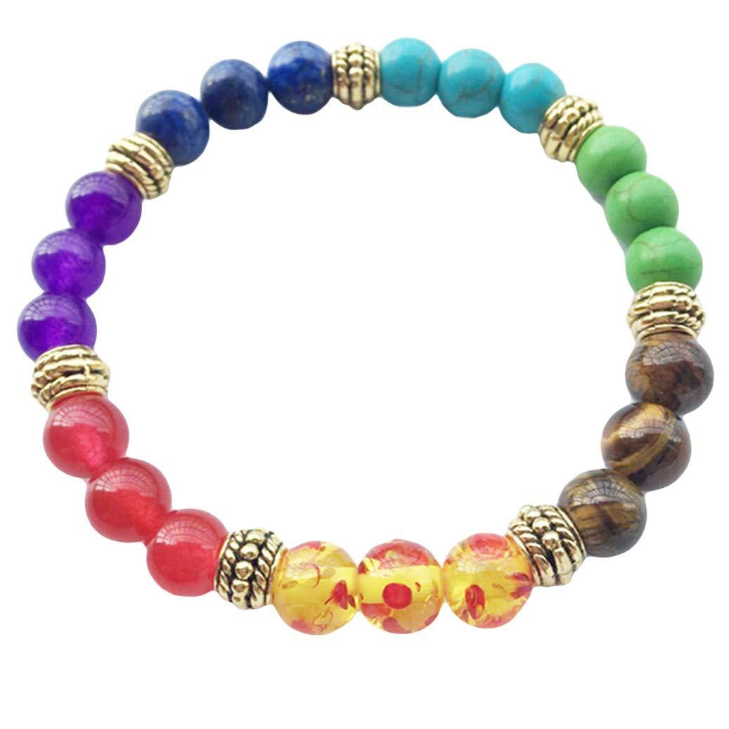 GOMYIE Multi Color Stretch Beaded Bracelets Lava Volcanic Stone Scrub Beaded Bracelets(Colorful Gold color)