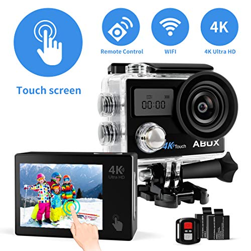 Action Camera, ABOX 608TA 4K 16MP WiFi Sport Cam 30M Waterproof Camcorder with Touch Screen/Dual Screen Display, 170°Wide-Angle Len,2.4G RF Remote, 2 Rechargeable Batteries and Accessories Kit